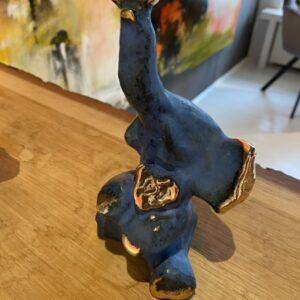 bronze elefant blå 18 cm