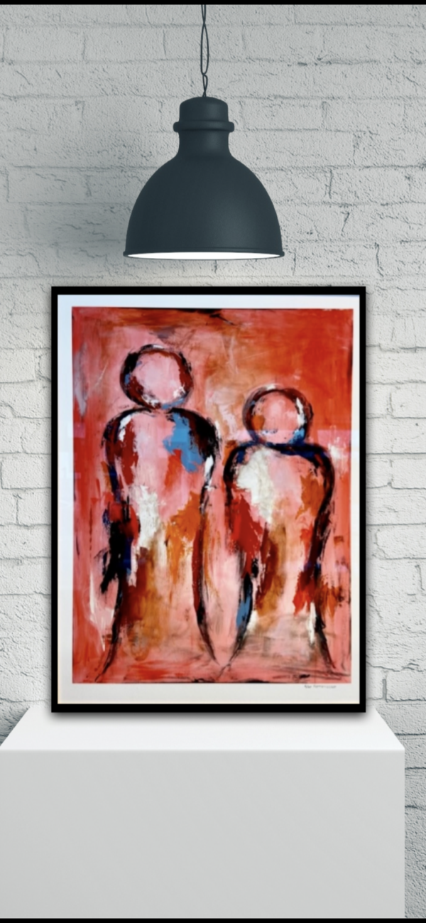 Giclee kunsttryk - by your side sort ramme